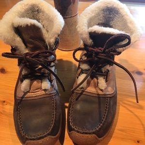 Sorel Brown Leather Joan Lace Up Boots